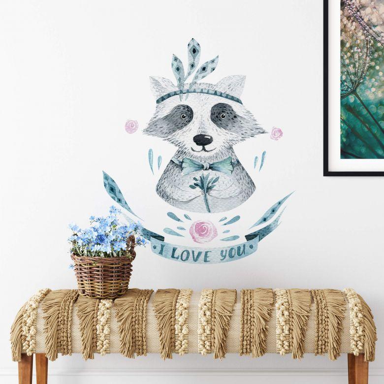 Wall sticker Kvilis - Raccoon I love you