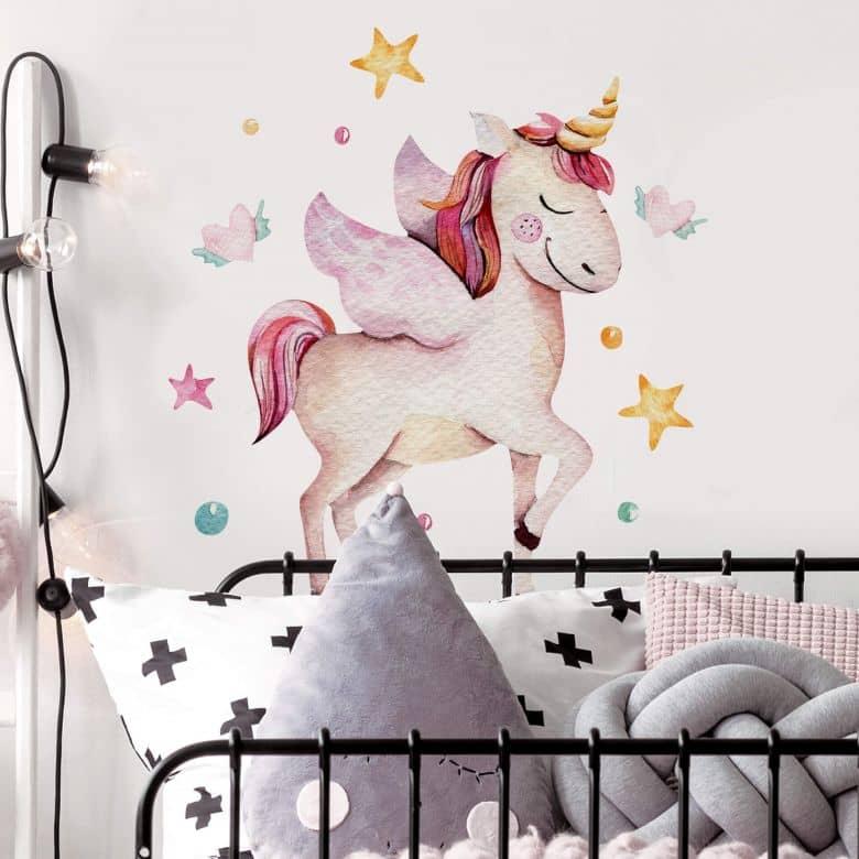 Wall sticker Kvilis - Unicorn with plane