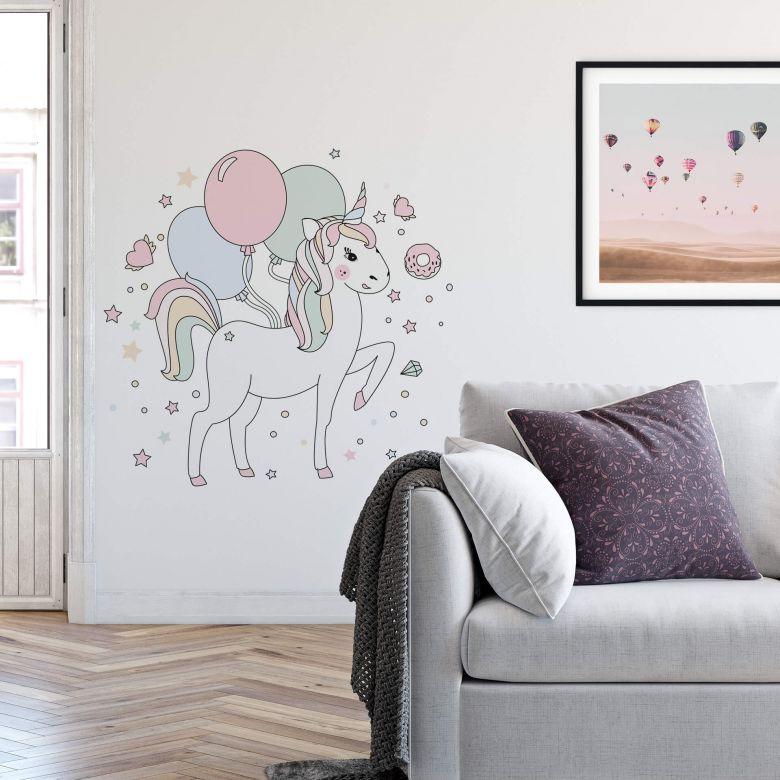 Wall sticker Kvilis - Unicorn + Balloon