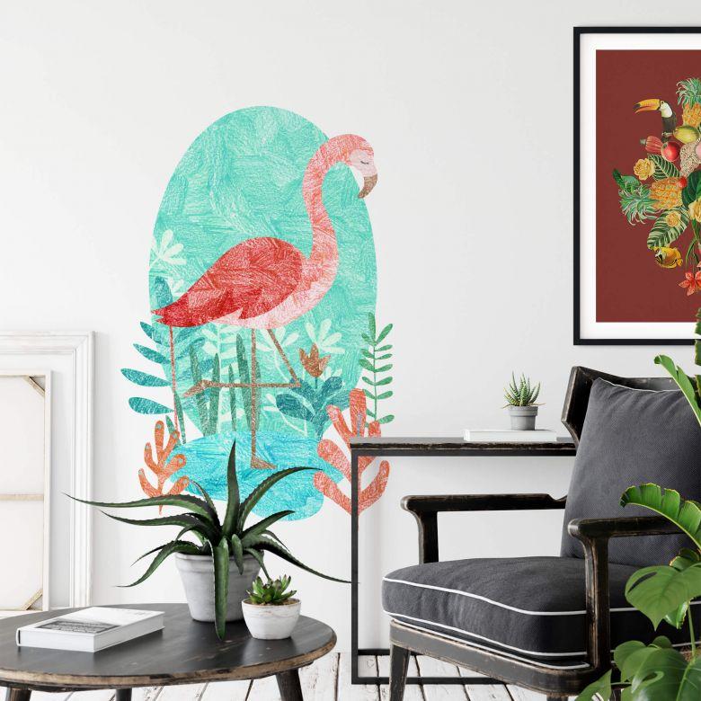 Wall sticker Goed Blauw - Flamingo