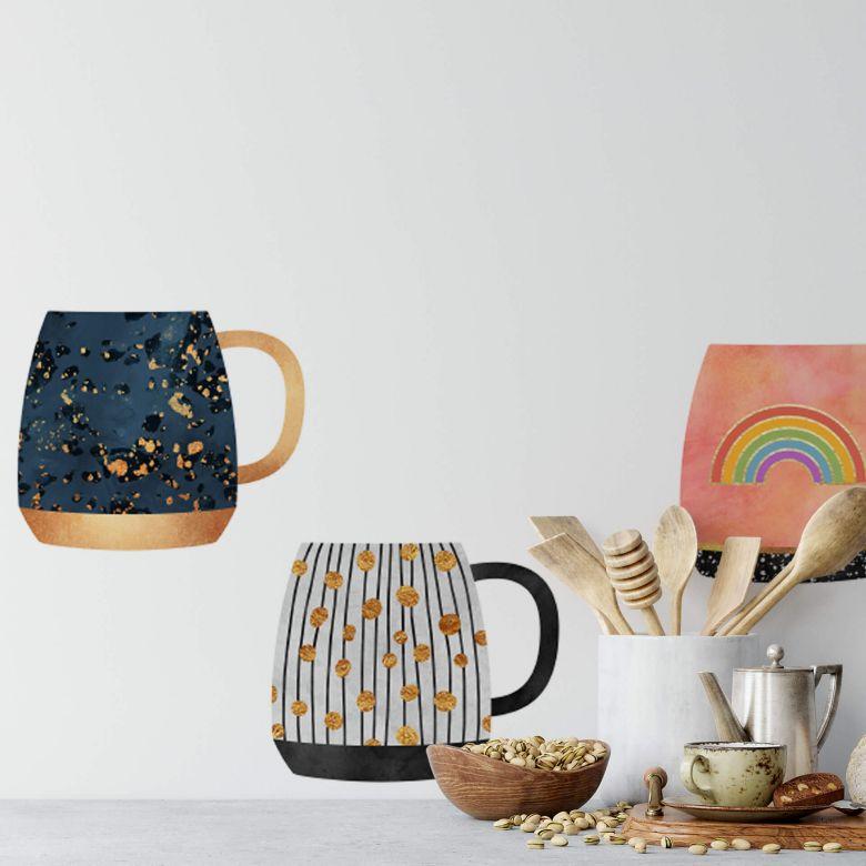 Wall sticker Fredriksson - Sun, Moon, Stars Coffee Cups