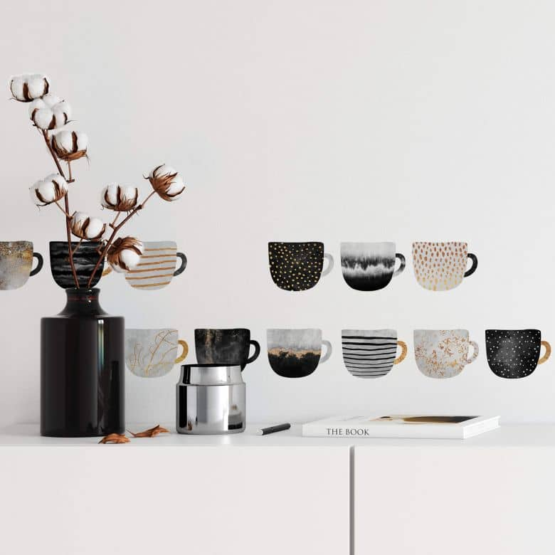 Wall sticker Fredriksson - Coffee Cups - Gold & Black