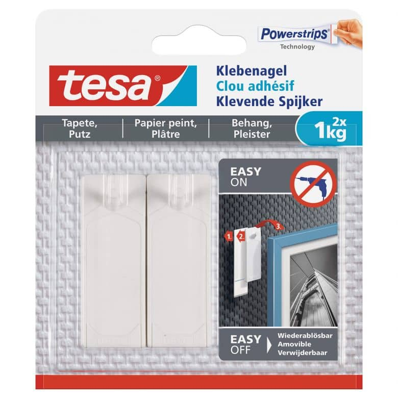 tesa® Adhesive Nail for Wallpaper & Plaster 2x 1kg