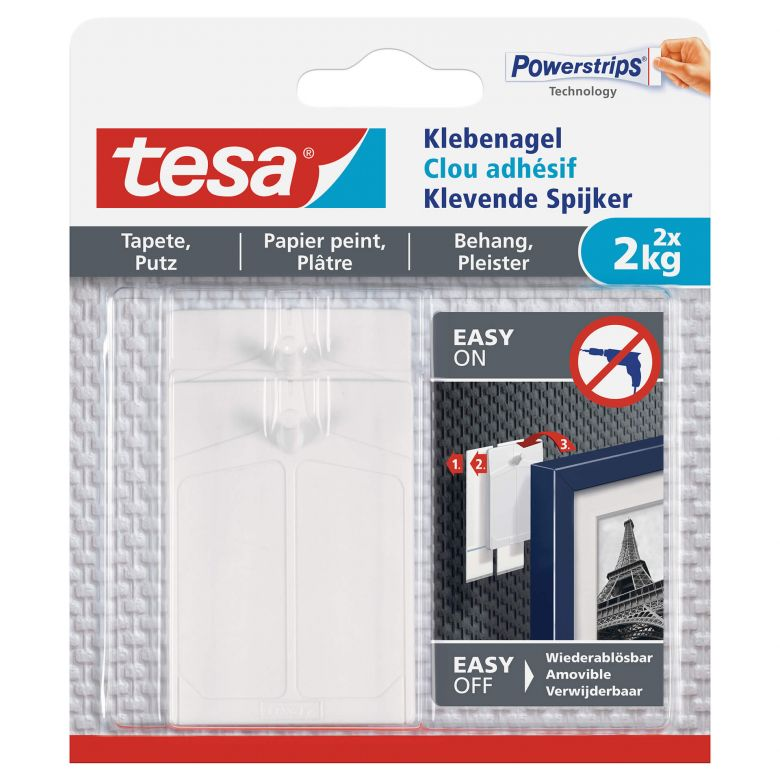 tesa® Adhesive Nail for Wallpaper & Plaster 2x2kg