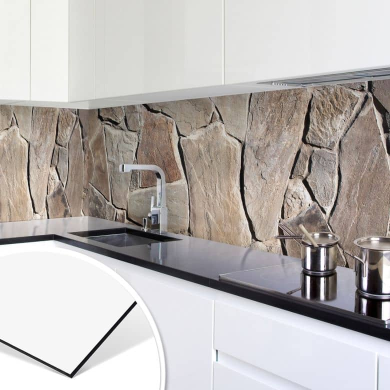 k chenr ckwand alu dibond mediterrane mauer wall. Black Bedroom Furniture Sets. Home Design Ideas