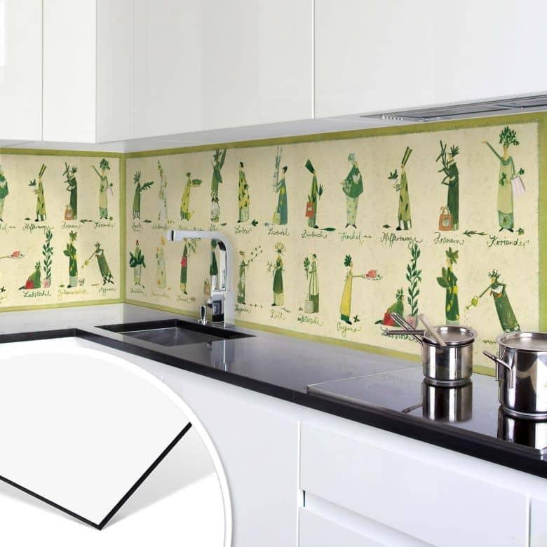 Alu Dibond Küchenrückwand Leffler - Kräuter | wall-art.de