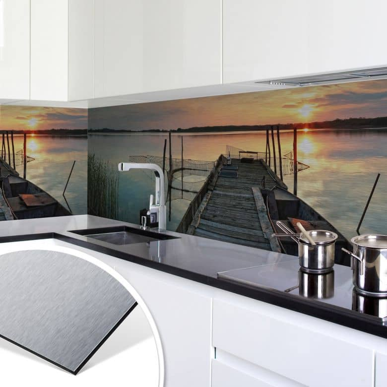 k chenr ckwand alu dibond silber sunset at the lake wall. Black Bedroom Furniture Sets. Home Design Ideas