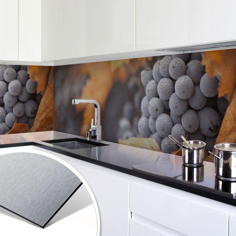 Küchenrückwand - Alu-Dibond-Silber - Wein im Her