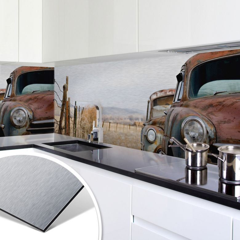 k chenr ckwand alu dibond silber old rusted cars. Black Bedroom Furniture Sets. Home Design Ideas