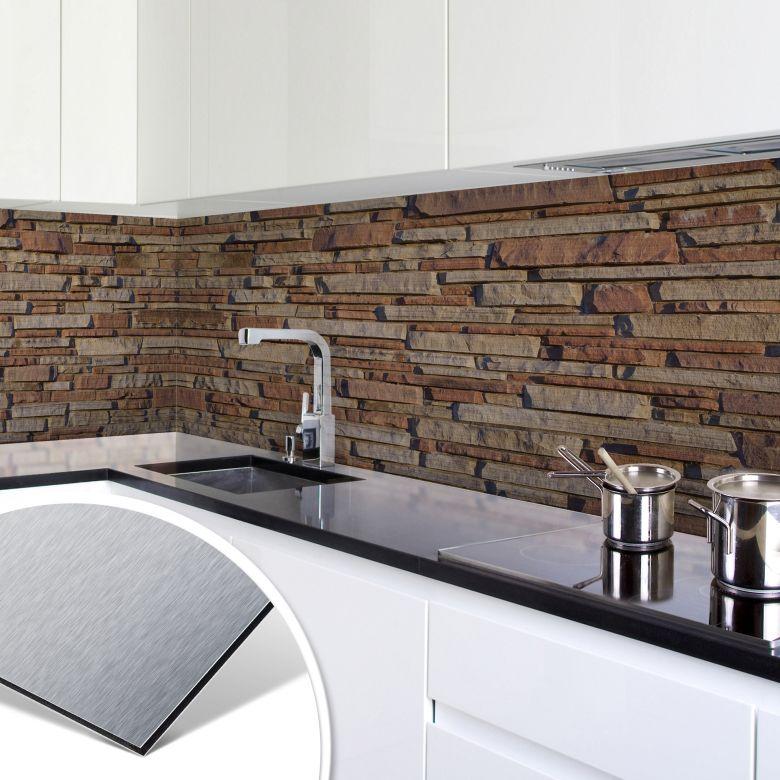 k chenr ckwand alu dibond silber mauer 05 wall. Black Bedroom Furniture Sets. Home Design Ideas
