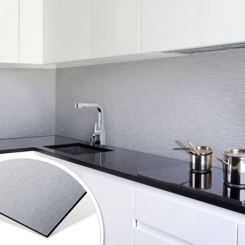 Küchenrückwand alu dibond  Küchenrückwand - Alu-Dibond-Silber | wall-art.de