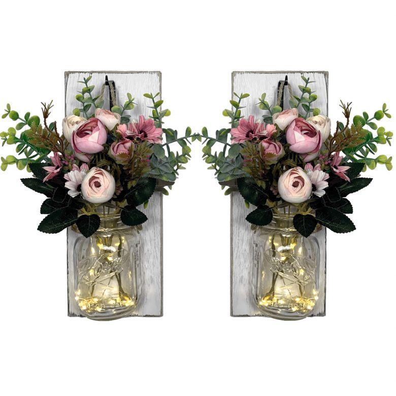 LED Wandleuchte Rosa Blumen im Glas mit Lichterkette