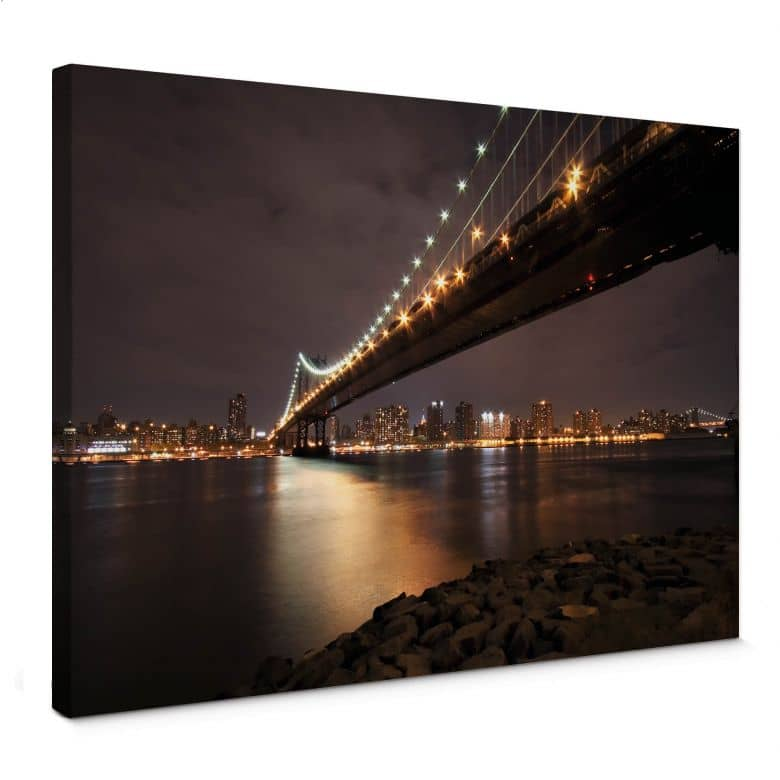 Manhattan Bridge at Night Canvas print