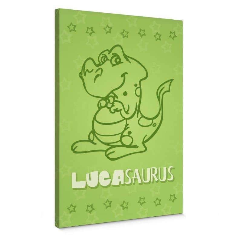 Leinwandbild + Wunschtext Dinosaurus