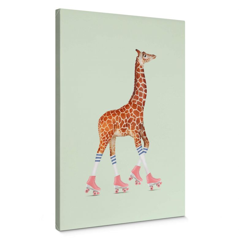 Leinwandbild Loose – Rollerskating Giraffe
