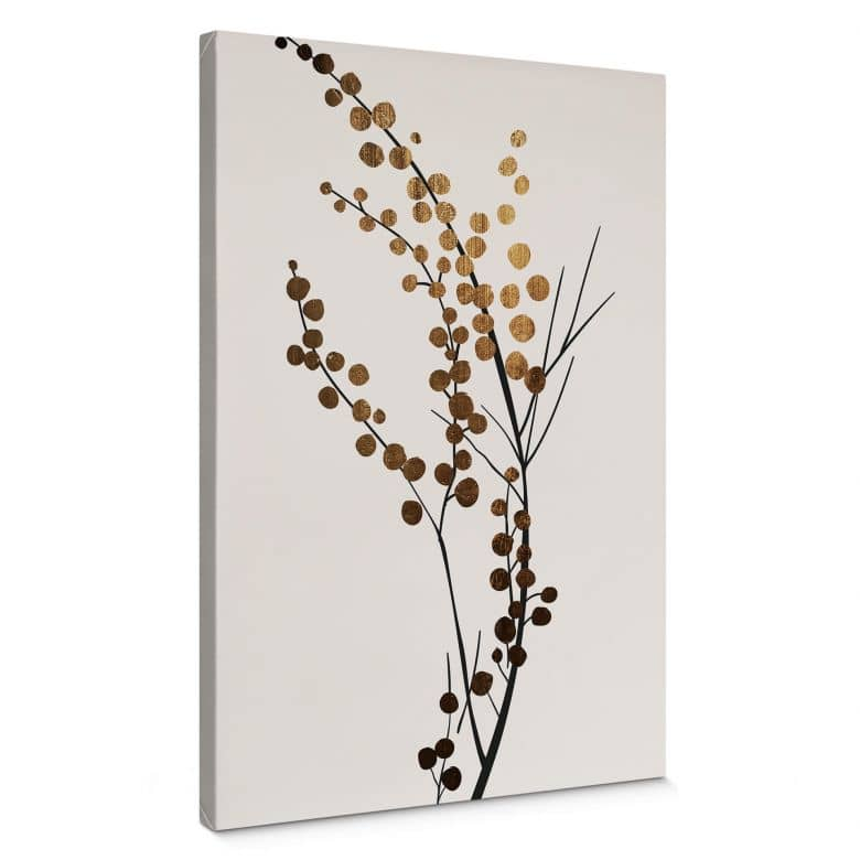 Leinwandbild Kubistika - Goldener Zweig