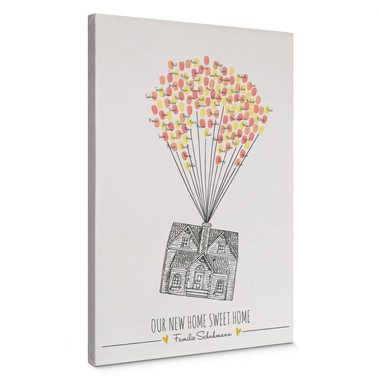 Tableau sur toile - Empreintes + Texte personnalisé - Our new Home sweet Home