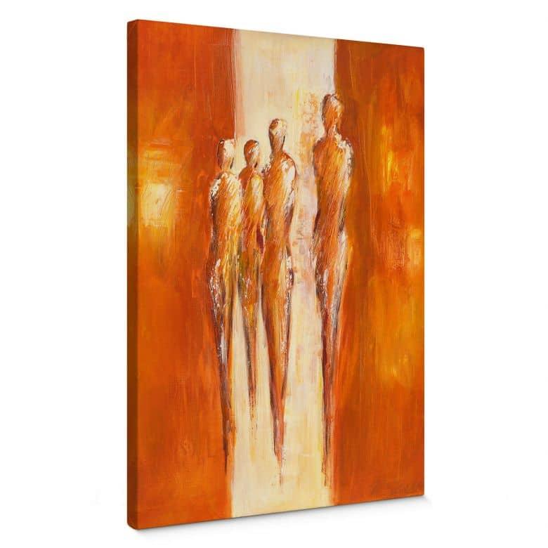 Leinwandbild Schüßler - Vier Figuren in Orange 0