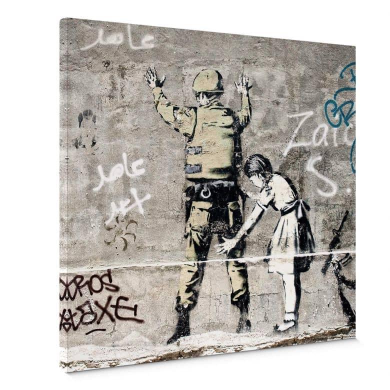 Tableau sur toile Banksy - La fille et le soldat