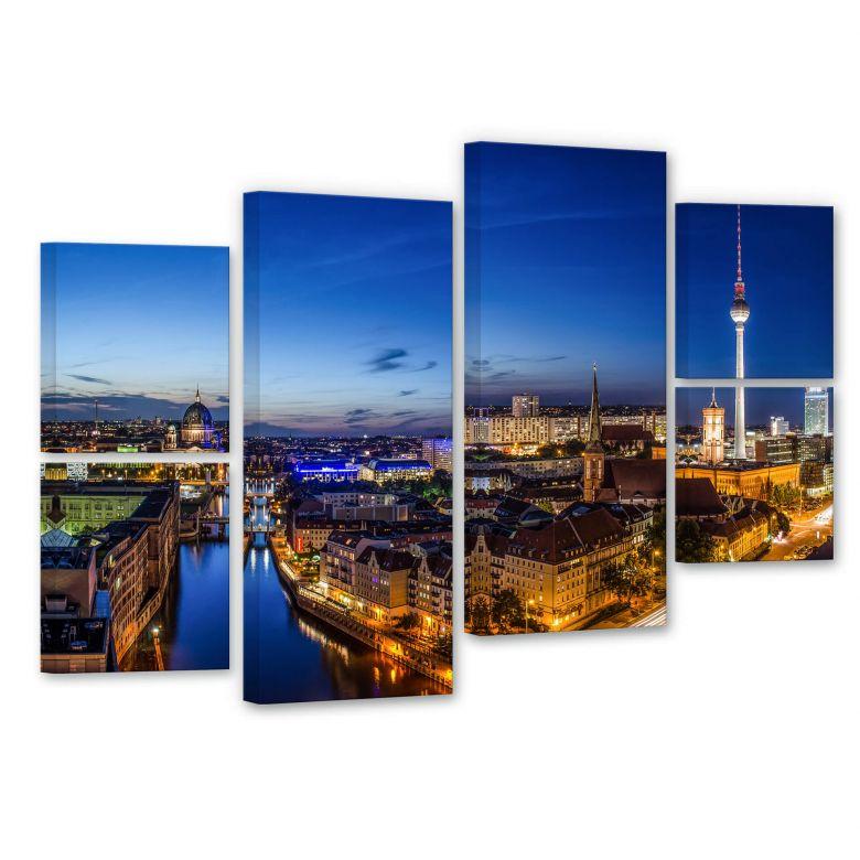 Leinwandbild Berlin Panorama (6-teilig)