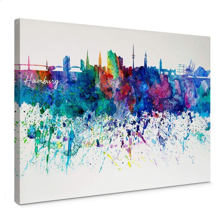 Tableau sur toile Bleichner - Hambourg Aquarelle Skyline