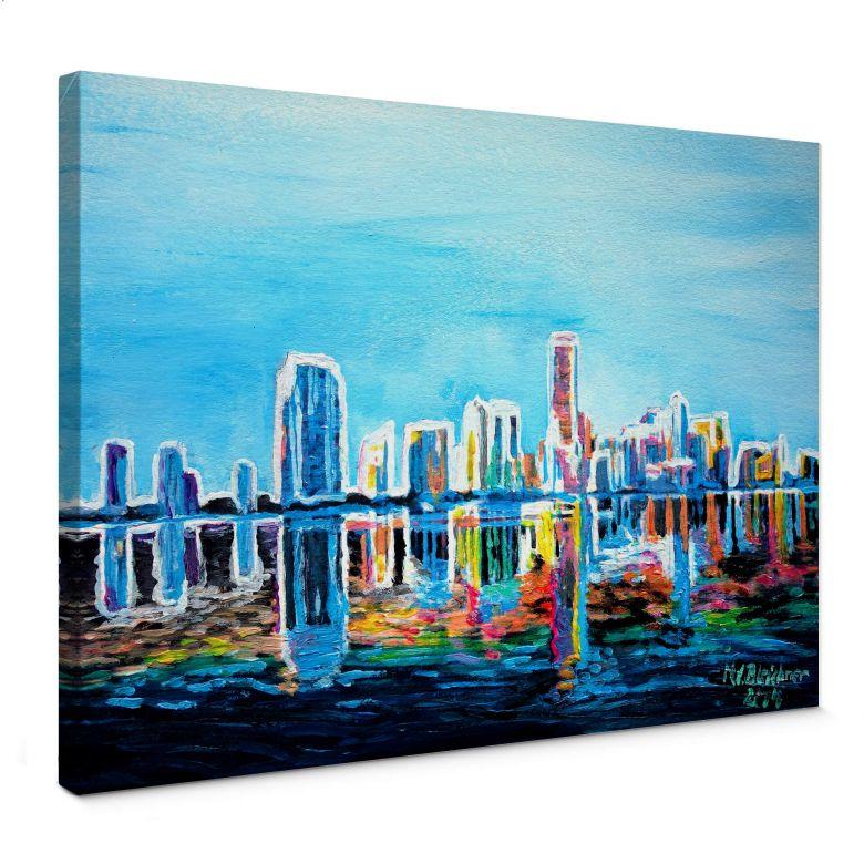 Leinwandbild Bleichner - Miami im Neonschimmer