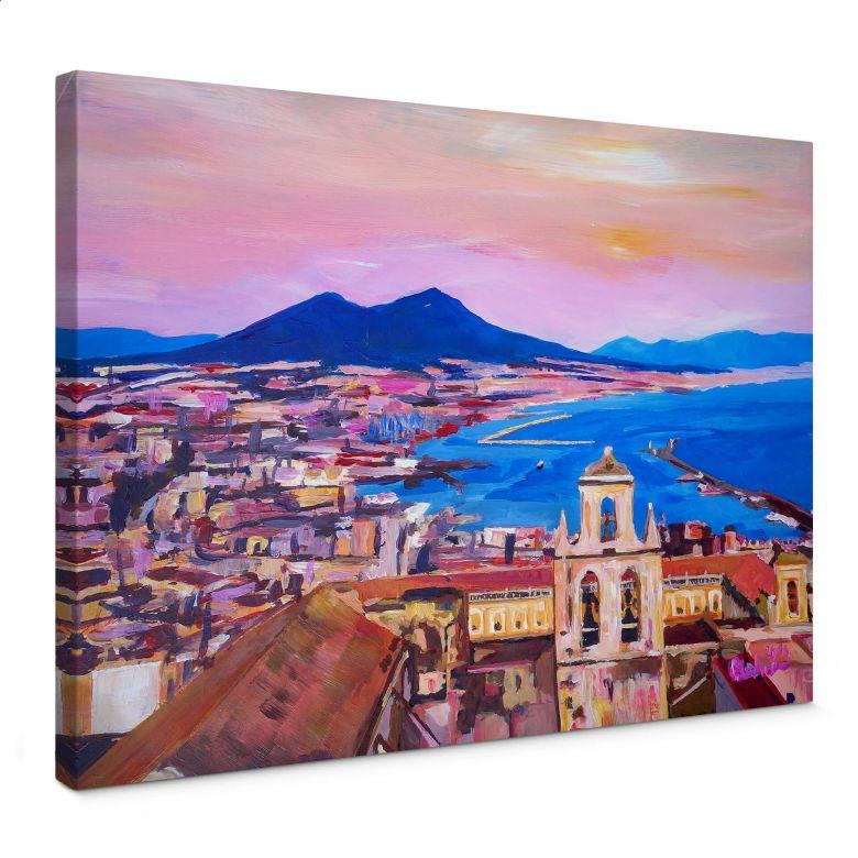 Leinwandbild Bleichner - Naples with Mount Vesuvio