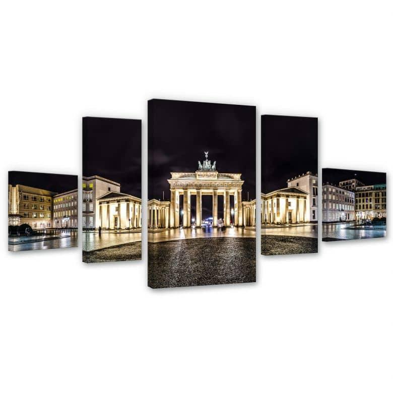 Leinwandbild Brandenburger Tor Panorama (5-teilig)