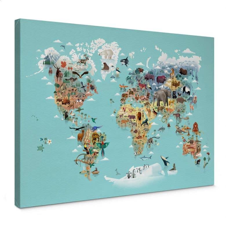 Canvas Braun - World Map