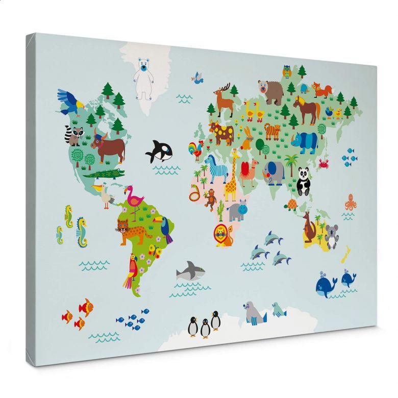 Canvas byGraziela - Wereldkaart