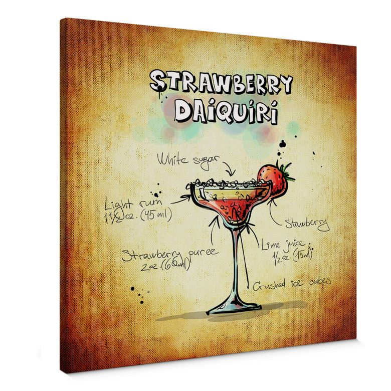 Leinwandbild Strawberry Daiquiri - quadratisch
