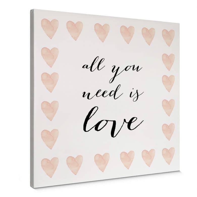 Leinwandbild Confetti & Cream - All you need is love