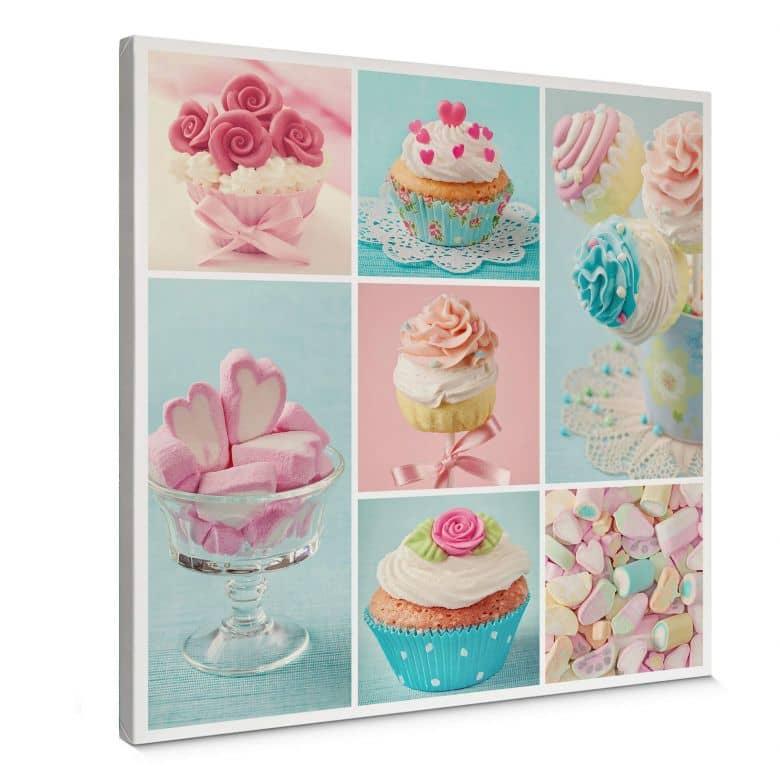 Leinwandbild Cupcake Collage