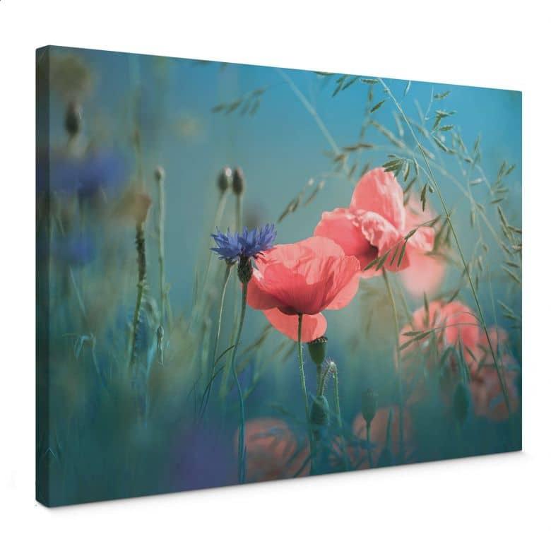 Leinwandbild Delgado - Wildblumen Aquamarin