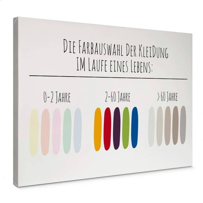 Leinwandbild Die Farbauswahl der Kleidung im Laufe eines Lebens