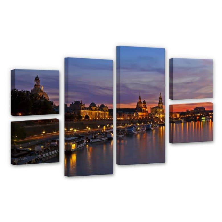 Leinwandbild Dresden im Nachtlicht (6-teilig)