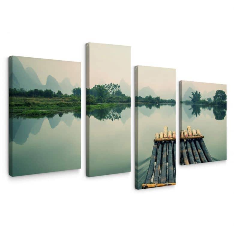 Leinwandbild Floßfahrt in China (4-teilig)