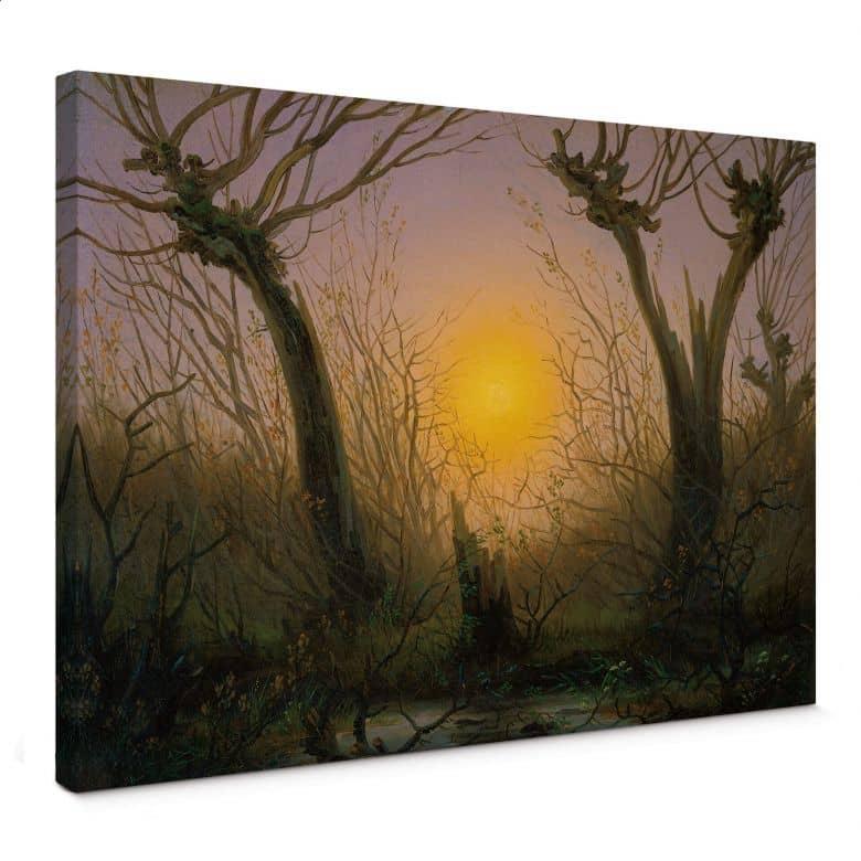 Friedrich - Paesaggio boscoso al tramonto del sole