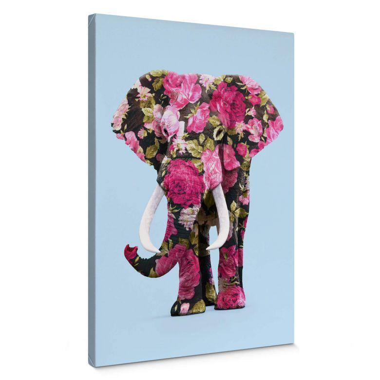 Leinwandbild Fuentes - Floral Elephant