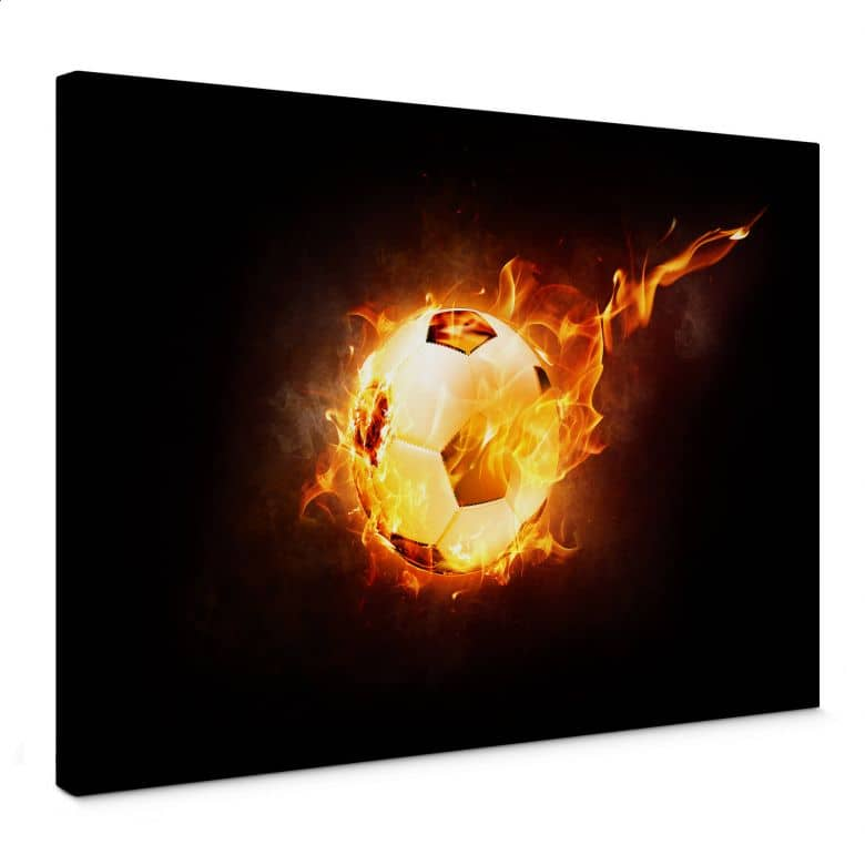 Leinwandbild Fußball in Flammen