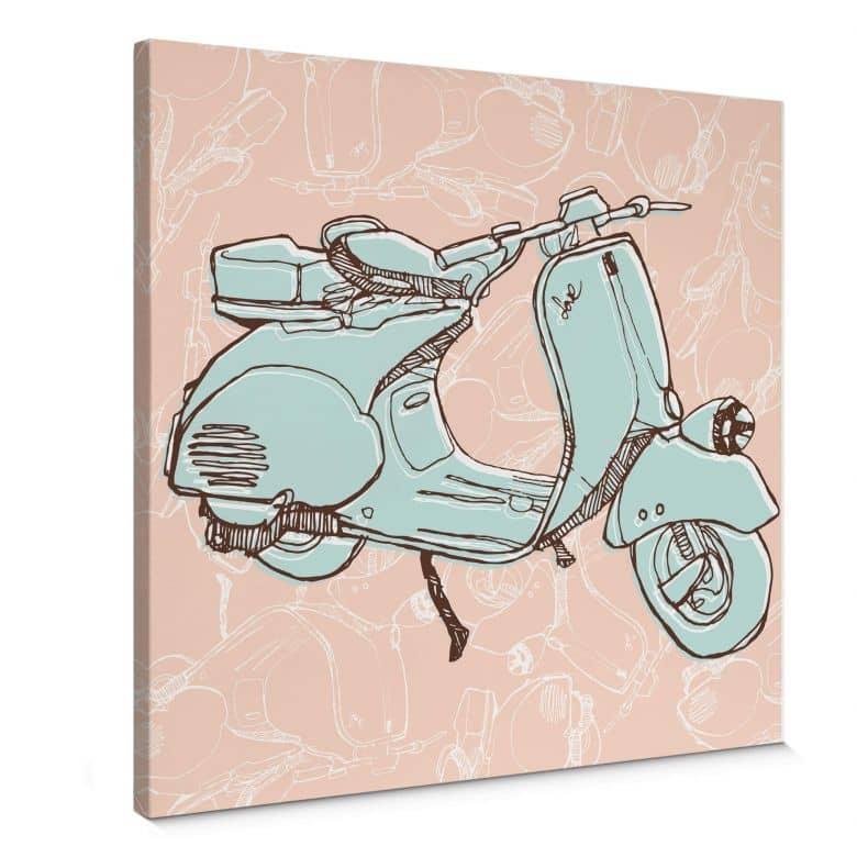 Tableau sur toile - Dessin de Vespa - Format carré