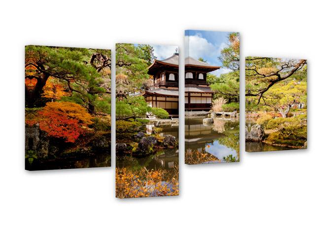 4 teiliges leinwand set japanischer tempel von k l wall art wall. Black Bedroom Furniture Sets. Home Design Ideas