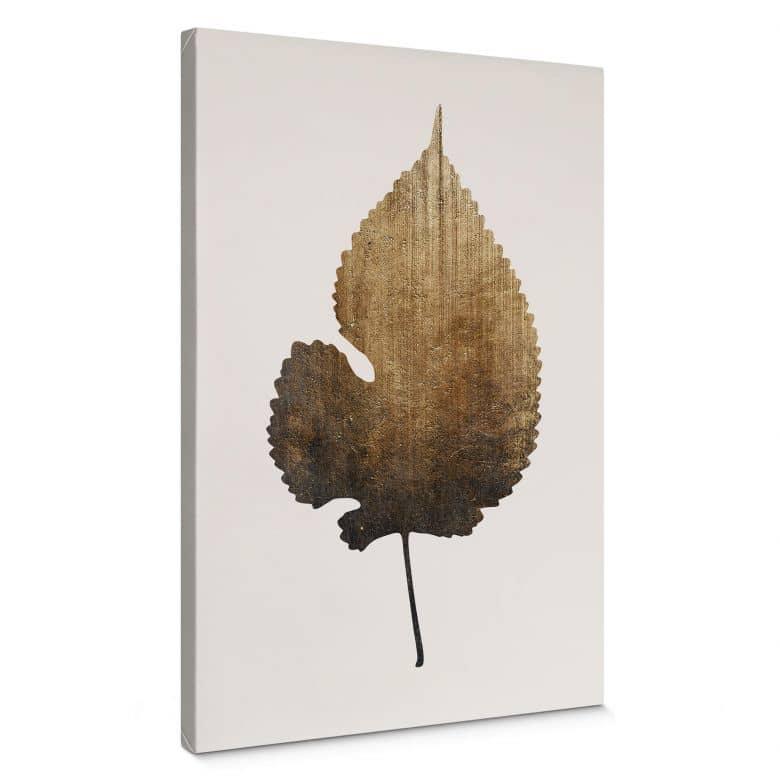 Canvas Print Kubistika - Golden Leaf