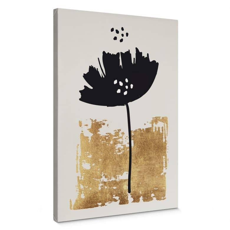 Tableau sur toile Kubistika - Fleur noire