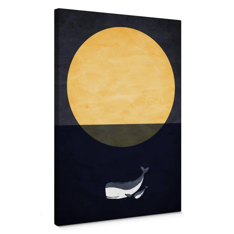 Leinwandbild Kubistika - Vollmond über dem Meer