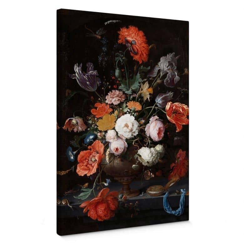 Leinwandbild Mignon - Stillleben mit Blumen und einer Uhr