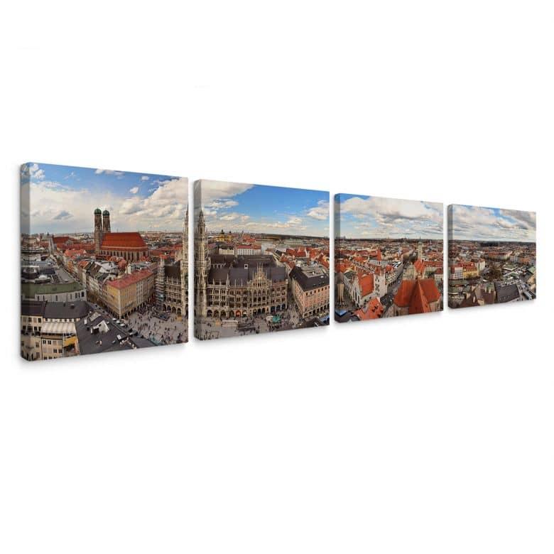 Leinwandbild Münchener Skyline Panorama Set (4-teilig)