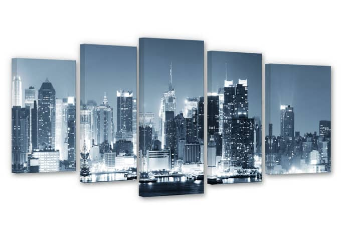 leinwand set new york at night 1 5 teilig wall. Black Bedroom Furniture Sets. Home Design Ideas
