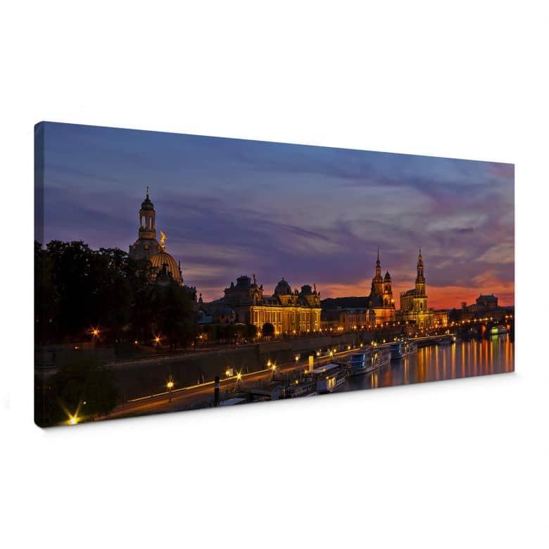 Leinwandbild Dresden im Nachtlicht