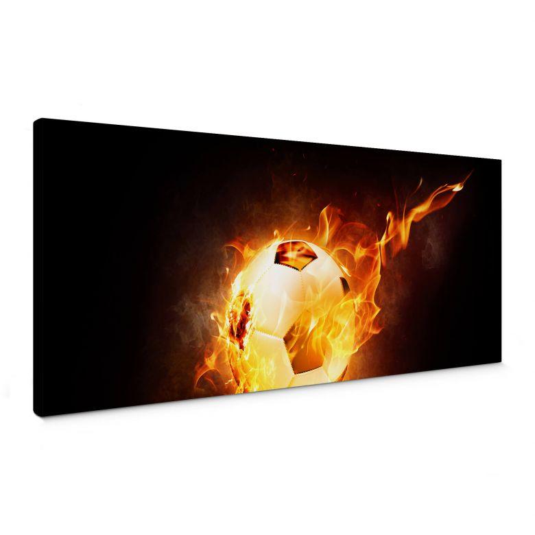 Leinwandbild Fußball in Flammen - Panorama